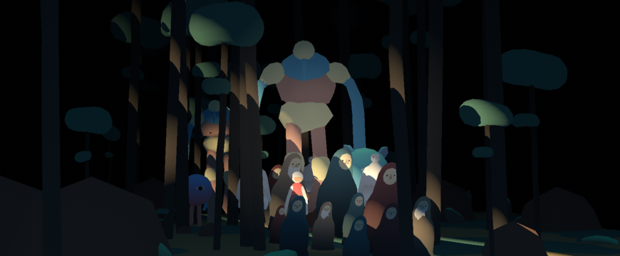 IMAGE: In-progress frame -- characters emerging from forest