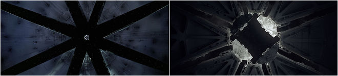IMAGE: 2001 lunar landing scene and Semi-Perm bay doors comparison