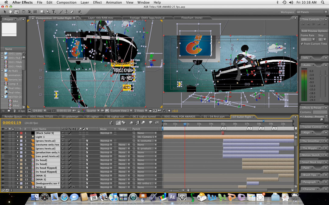 After Effects project for bullet sequence