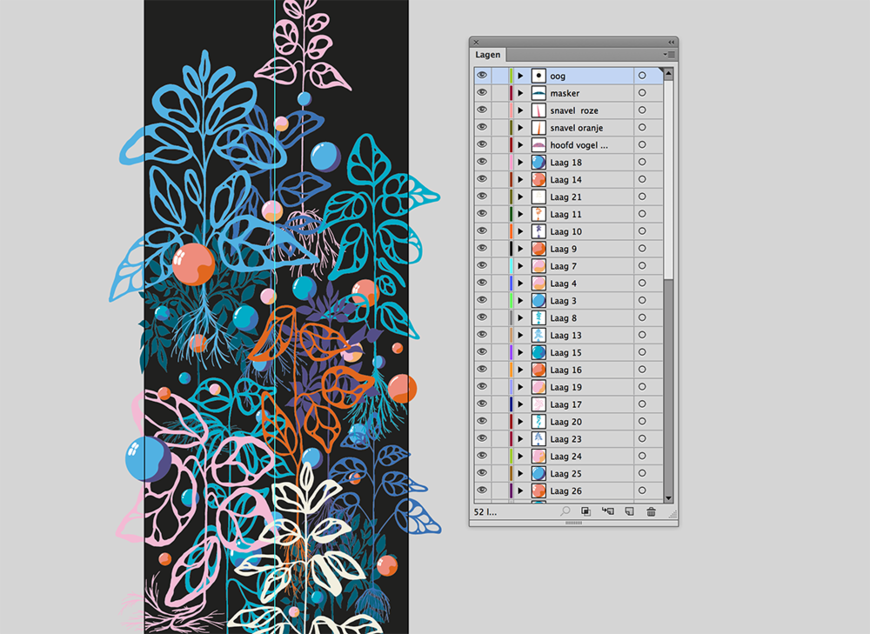 IMAGE: Illustrator screenshot –leaves and bubbles